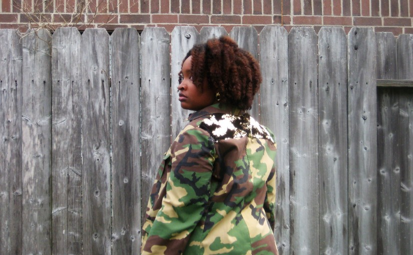 Camouflage and Sequin Jacket M7365