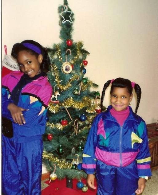 Me on the left and my sister on the right. Christmas 1990 ish.